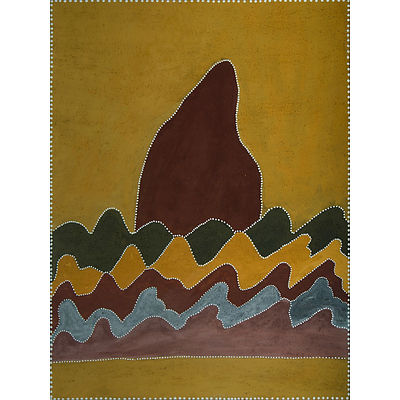 CARRINGTON, Betty (born c1944) Untitled, 2005. Signed verso. Inscribed Warmun Art Centre, cat WAC088/05 Ochre on Canvas