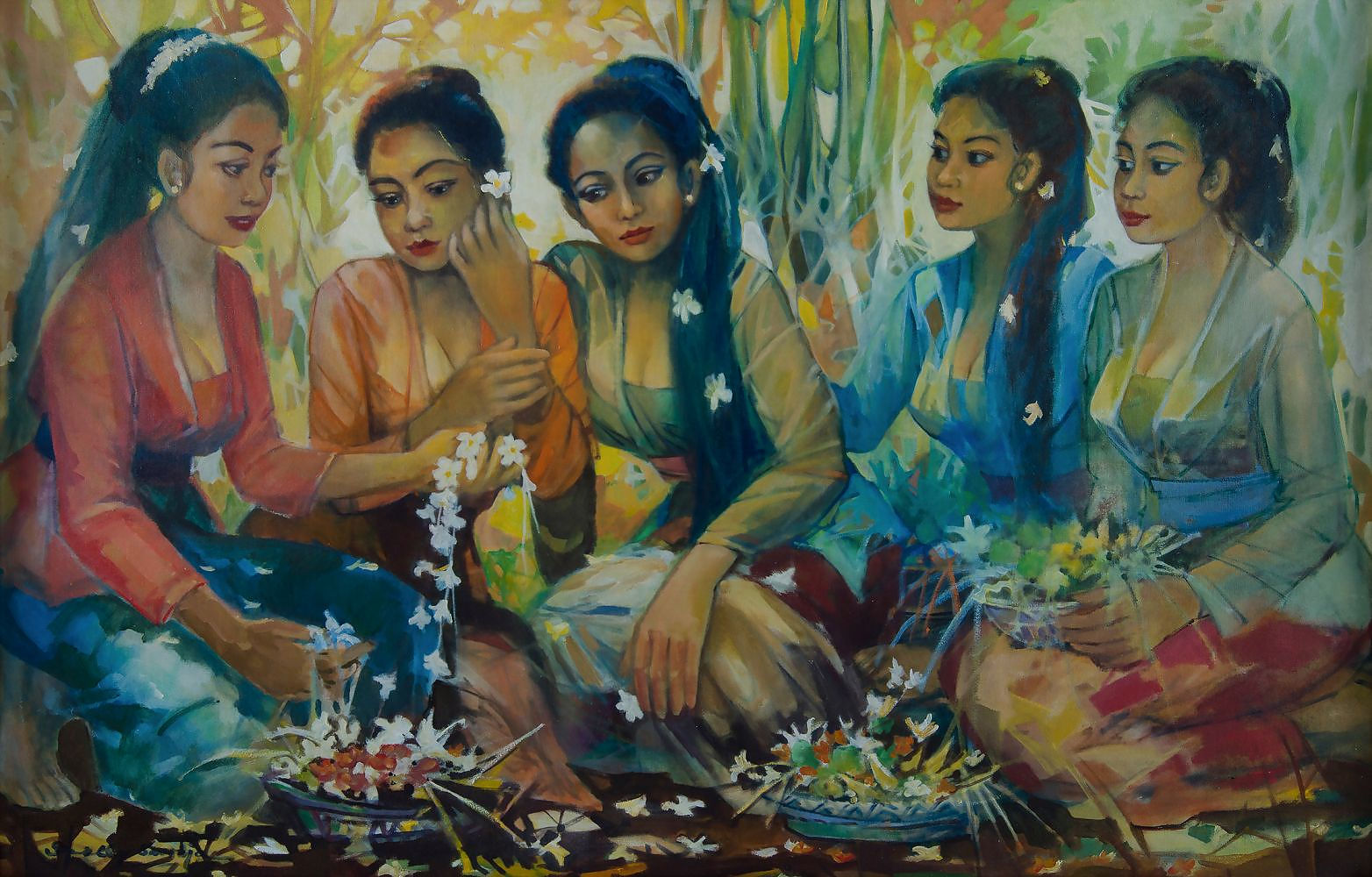 'Indonesian School, Signed Girls with Flower Baskets. Signed lower left. Acrylic on Canvas on Board'
