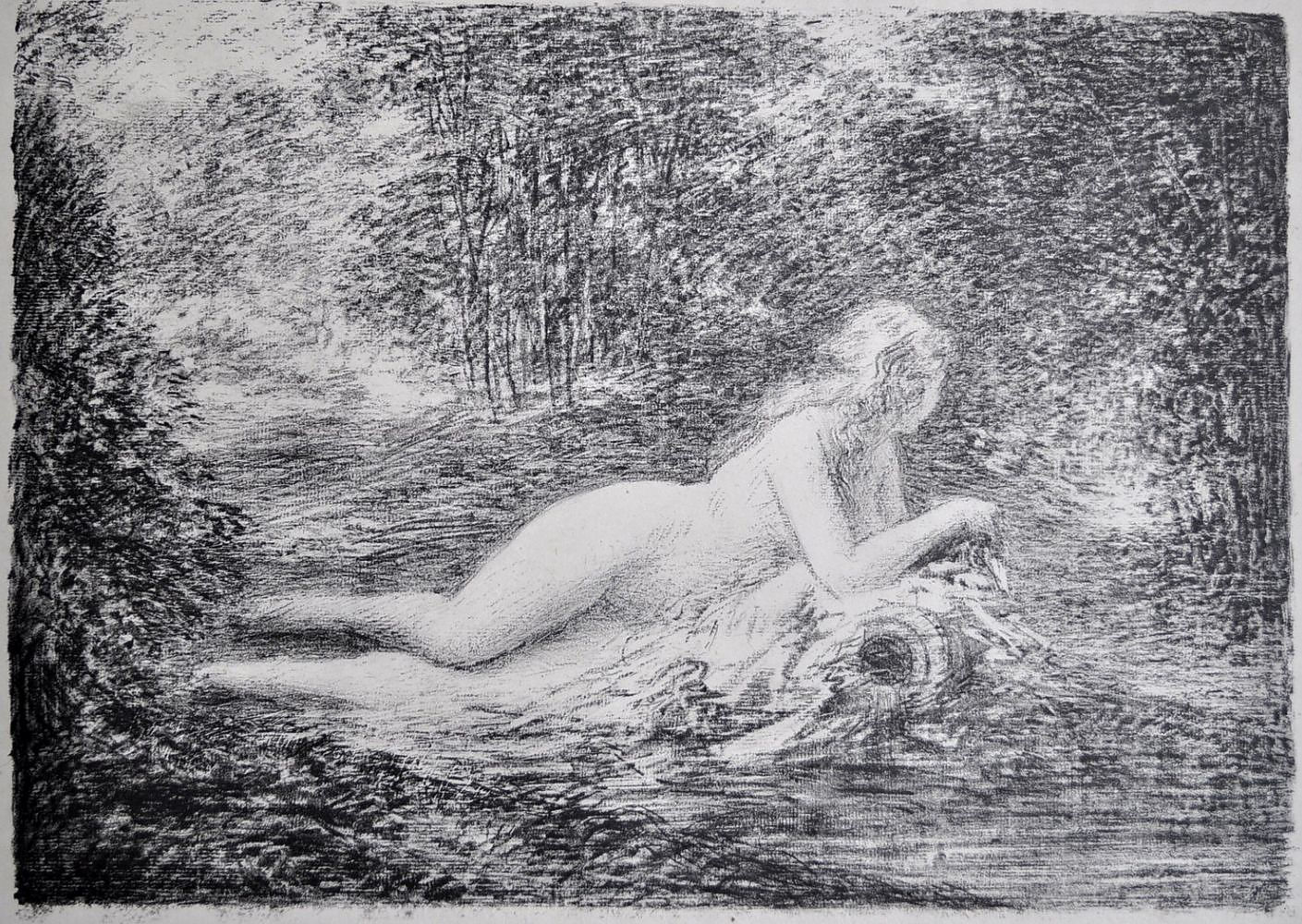 'After RENOIR, Pierre-Auguste (French 1841-1919) Lady Bathing in Sunlight. Soft ground etching Print'
