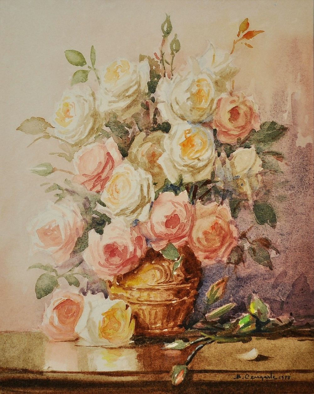 'CENGARLE, Bruno (b.1949) Mixed Roses, 1988 Watercolour'