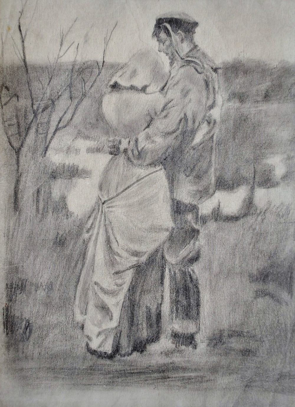 'LARSON, S A Sailors Goodbye. Possibly Inscribed S Larson 1915 (indistinct) Pencil'