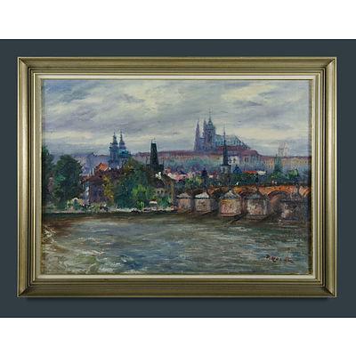 KOZAK, Vaclav (Czechoslovakian 1889-1969) View of Prague & Charles Bridge Oil on Board