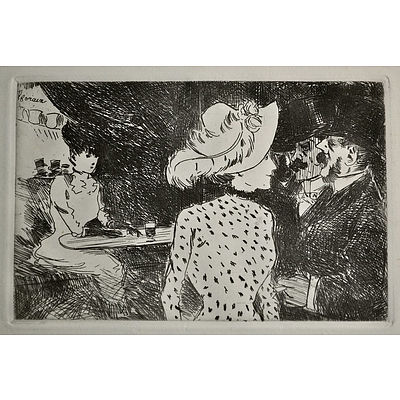After FORAIN, Jean-Louis (French 1852-1931) 'Folies Bergere'. Signed in the plate, Circa 1930s Etching