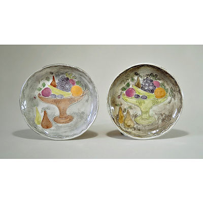 JONES, Frances (1923-1999) Two Buff Earthenware Dishes. Press moulded with compote of fruit, multicoloured glaze decoration. Incised to base 'Frances Jones Studio Sydney'