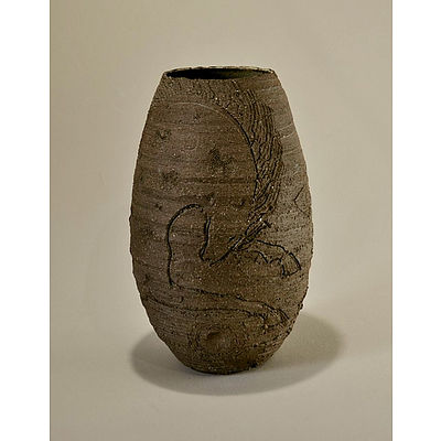 Rough Hewn Baluster Vase, c1960-70. Sgrafitto decoration of horse leaping over sun (Nordic Myth). Freeform cut rim with turned lines to body, pale copper internal glaze. Incised & impressed seal to base 'CV' (possibly Vale Cushing)