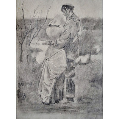 LARSON, S A Sailor's Goodbye. Possibly Inscribed 'S Larson 1915' (indistinct) Pencil