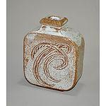 Stoneware Bottle Vase. Squared section with incised patterns & ash glaze. Impressed seal to base 'NC'