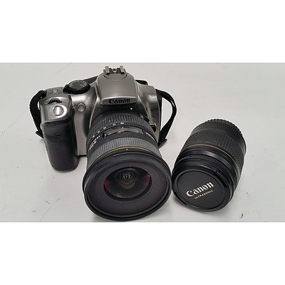 Canon EOS 300D 6.3 Megapixel Digital Camera with Two Lenses