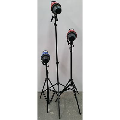 Fotobestway MSC-500 Mini Star Studio Lamps with Tripods - Lot of Three