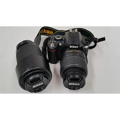 Nikon D60 10.2 Megapixel Digital Camera with Two Lenses