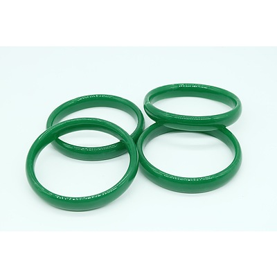 Two Pairs of Green Glass Bangles