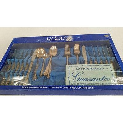 Rodd Duchess Silverplate 44 Piece Setting & Faux Ivory Handle Silverplate Blade 12 Piece Fish Setting