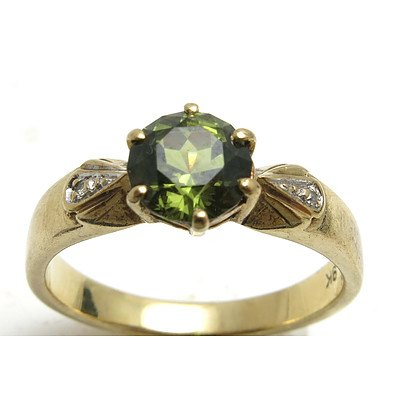 9ct Yellow Gold Green Sapphire Ring