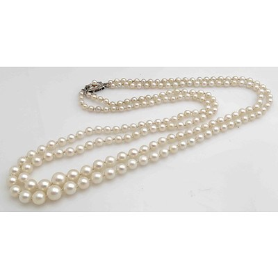 Vintage Pearl Necklace - Double, Graduated