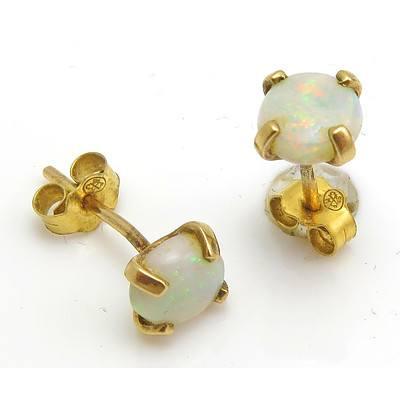 9ct Gold Australian Solid Opal Earrings