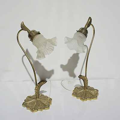 Pair of Vintage Brass Stem Table Lamps with Tulip Shades