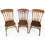 Six Antique English Farmhouse Style Oak Dining Chairs