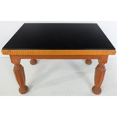 Contemporary Black Glass Topped Coffee Table