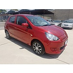 4/2013 Mitsubishi Mirage ES LA 5d Hatchback Red 1.2L