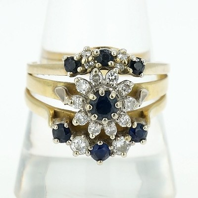 9ct Yellow Gold Set of Three Rings with Blue Sapphire and Round Brilliant Cut Diamonds