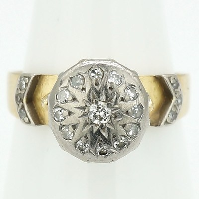 """18ct Yellow Gold Ring with White Gold Setting Around """"""""Illusion"""""""" Plate with Centre Round Brilliant Cut Diamond and Twelve Single Cut Diamonds"""