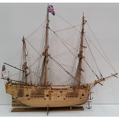 Hand Built Model Of Captain Cook's Endeavour in Custom Built Display Case