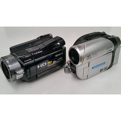 Sony DCR-DVD653E and HDR-SR7E Handycam Camcorders - Lot of Two