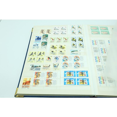 Stamp Album with Corner Blocks of Four, Gutter Strips, Mini Sheets, Booklets etc of Unused Stamps.