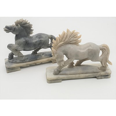 Two Hand Carved Chinese Soapstone Horse Figures