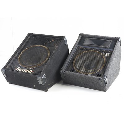 One Electric Factory EV 300W Foldback Speaker and One Session 300W Foldback Speaker