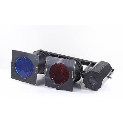 Three Mounted Stage Lights with Case