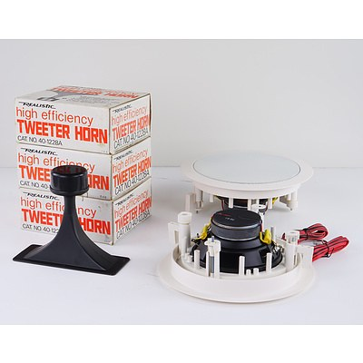 Four Realistic High Efficiency Tweeter Horns and Two In-Ceiling Mounting Speakers