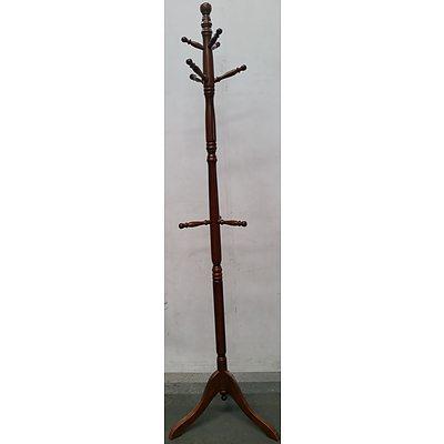Mahogany Veneer Coat Rack