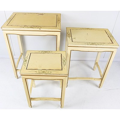Group of Vintage Hand Painted Nesting Tables