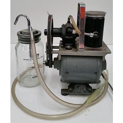 Vintage Medical Suction Pump and Medishield 1300ml Suction Pump Jar