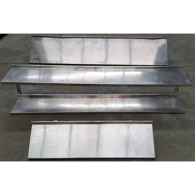 Commercial Wall Mount Stainless Steel Shelves - Lot of Three