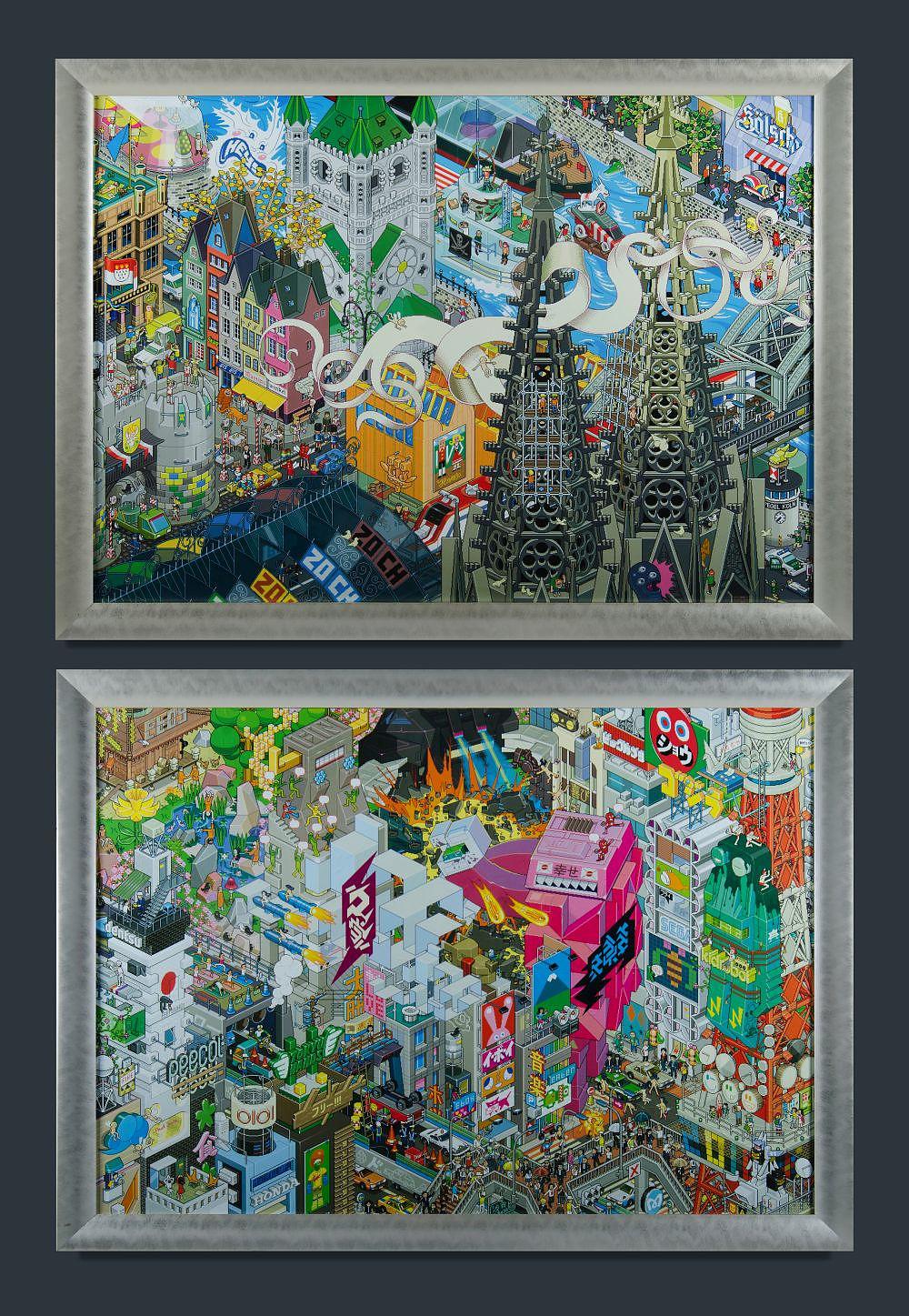"'eBoy, Tokyo & Barcelona"""" Digital Print (2)'"