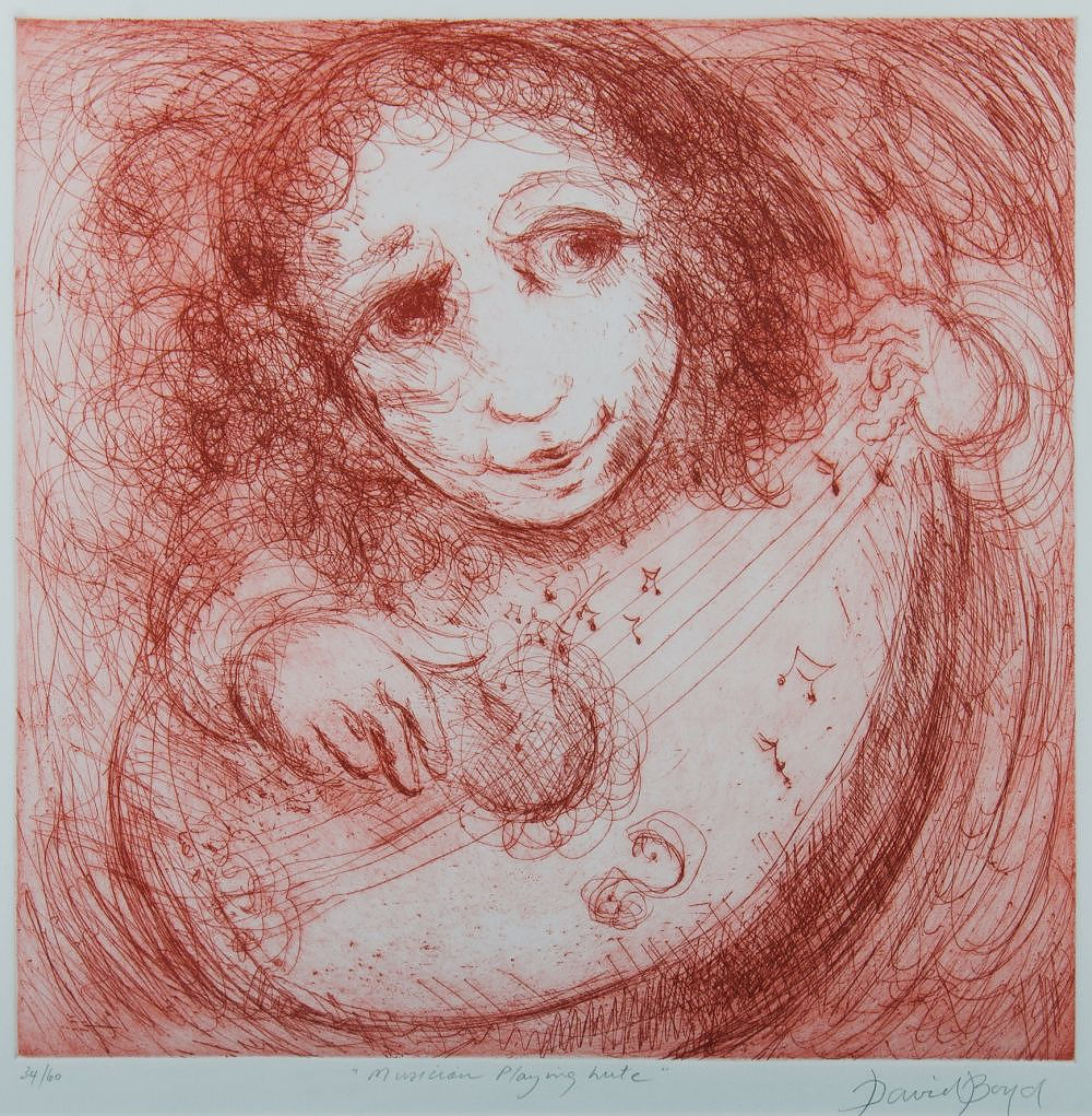 'BOYD, David (1924-2011) Musician Playing Lute Coloured Etching 34/60'