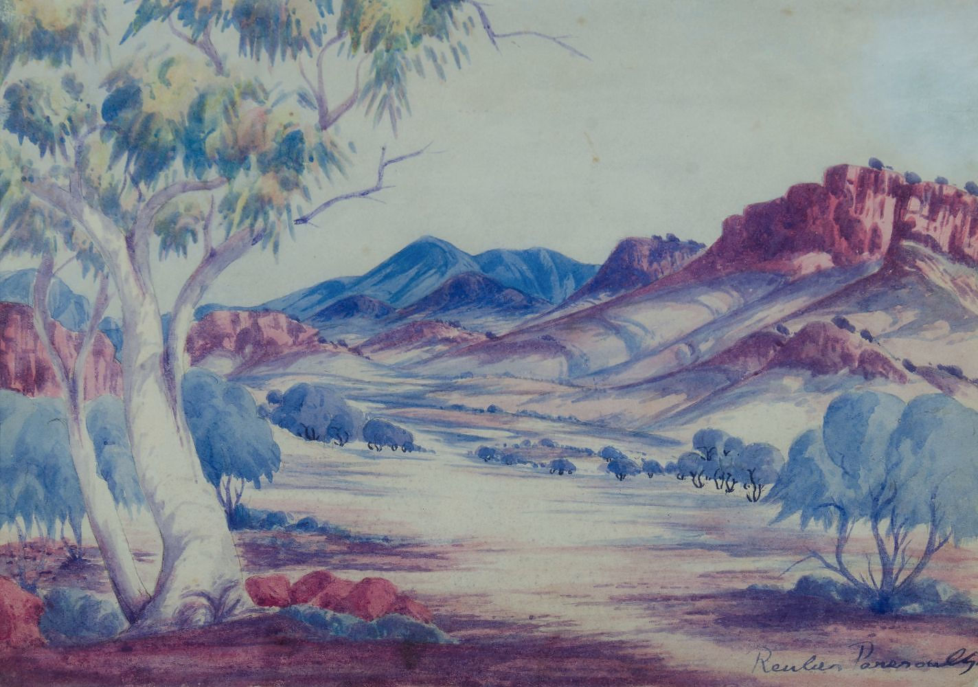 'PAREROULTJA, Reuben (1916-1984) Central Australian Landscape Watercolor'