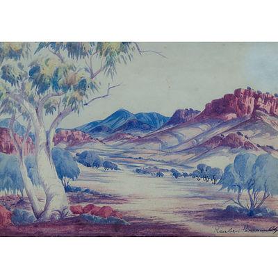 PAREROULTJA, Reuben (1916-1984) Central Australian Landscape Watercolor