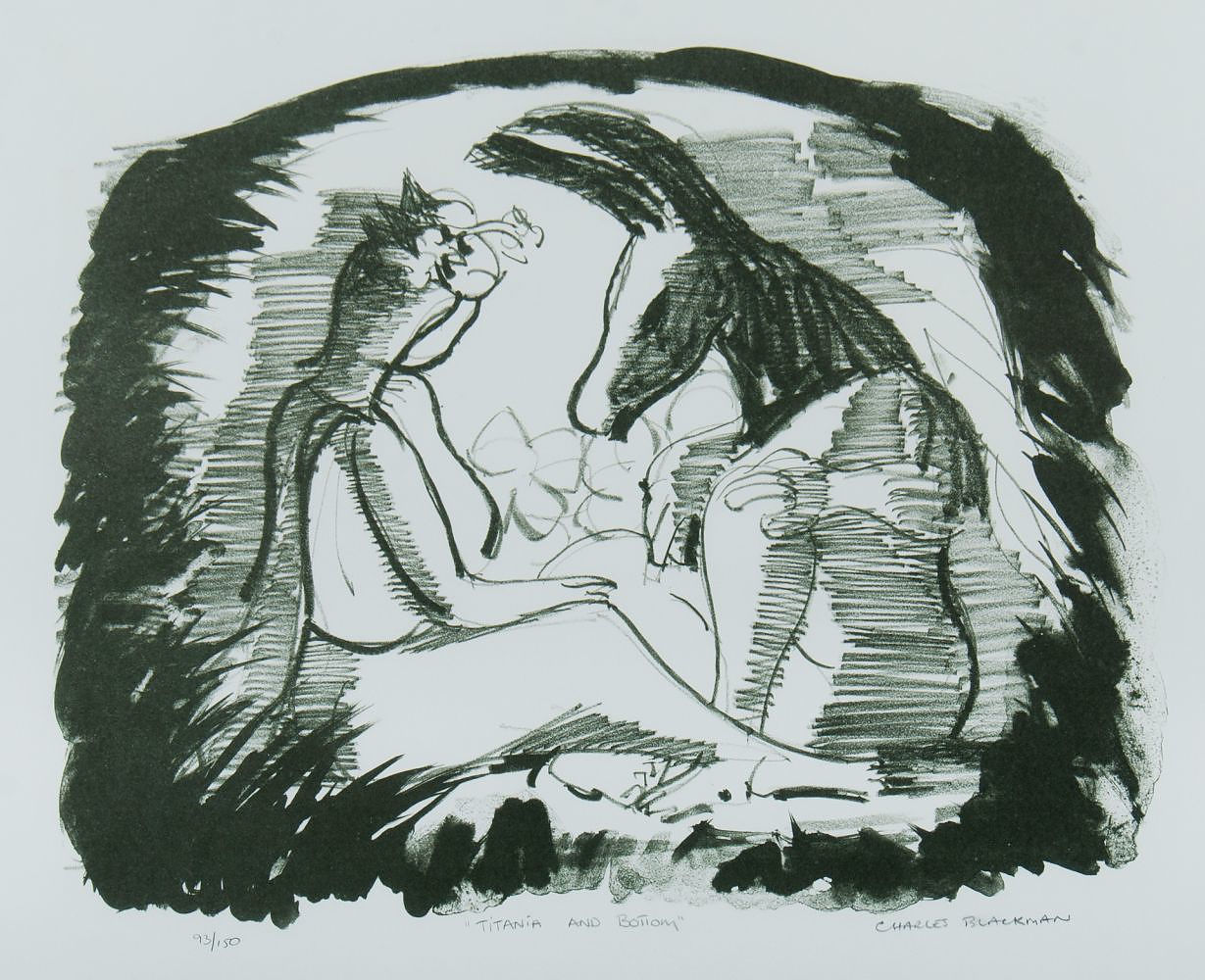'BLACKMAN, Charles (1928-2018), Titania and Bottom Lithograph 93/150'