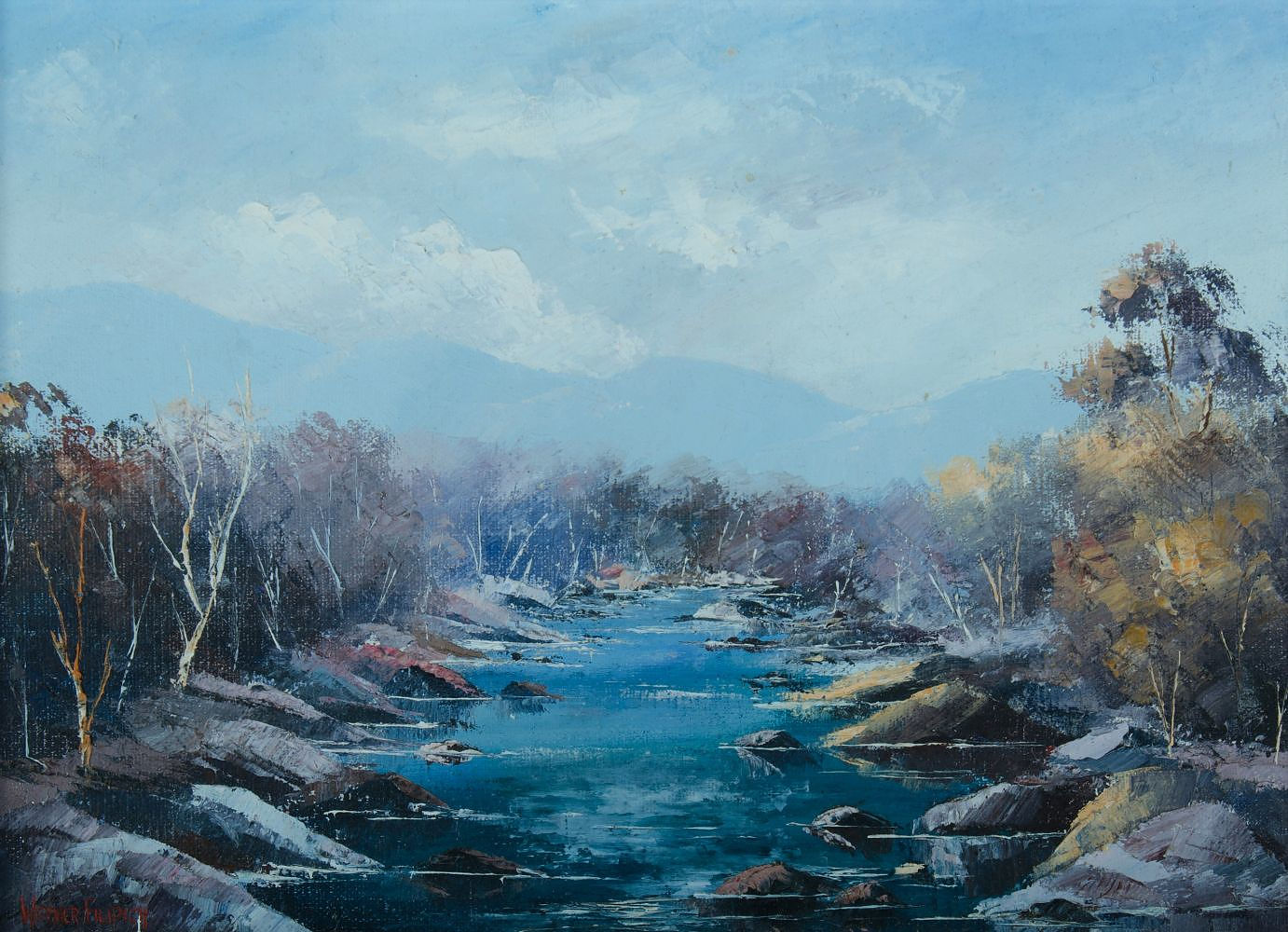 'FILIPICH, Werner (b.1943) Australian River Oil on Canvas on Board'