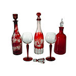 3 Ruby Flashed Wine Decanters. Two with etched vine leaf & tendril design. Together with two ruby stemmed wine glasses. One decanter with top re-ground