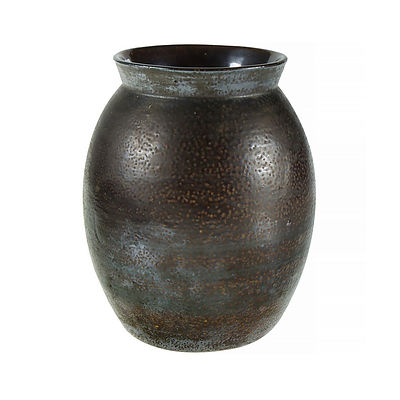 Bendigo Pottery Stoneware Vase. Ovoid form with dimpled textured brown glaze. Impressed mark to side