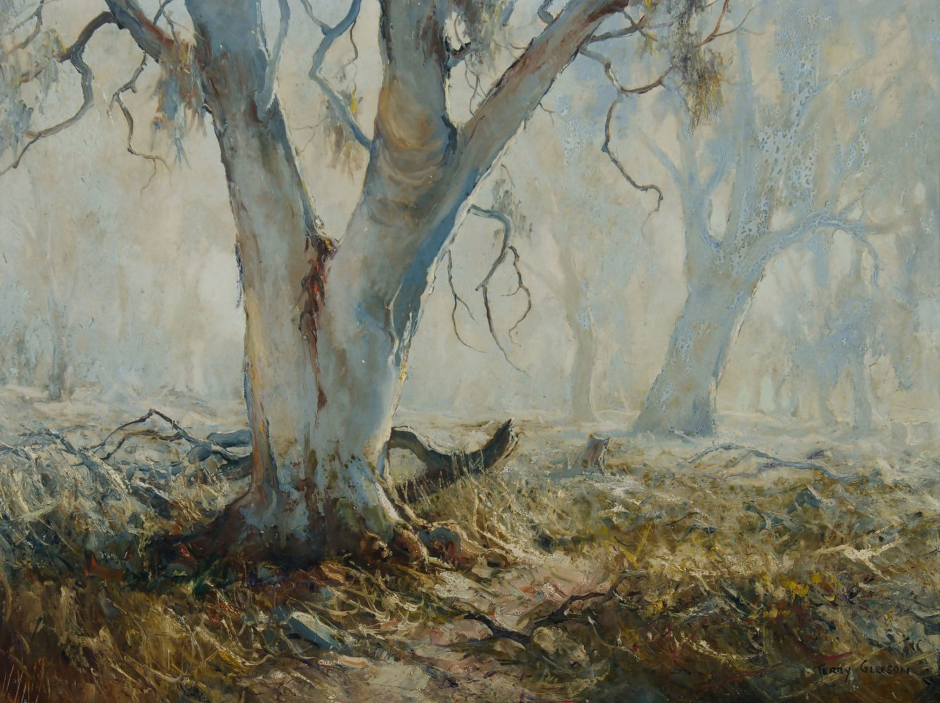 'GLEESON, Terry (1934-1976) Bush Landscape with Gums Oil on Board'
