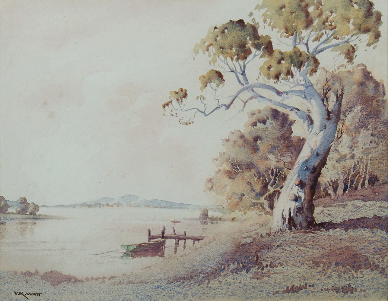 'WATT, Victor Robert (1886-1970) Forster, Tuncurry in Distance Watercolour'