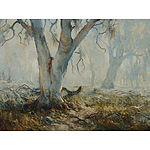 GLEESON, Terry (1934-1976) Bush Landscape with Gums Oil on Board