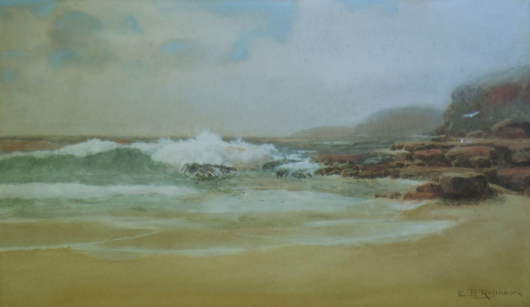 'ROLLASON, E B, Australian Coastal Scene with Gulls Watercolour & Gouache'