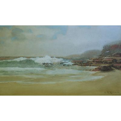 ROLLASON, E B, Australian Coastal Scene with Gulls Watercolour & Gouache