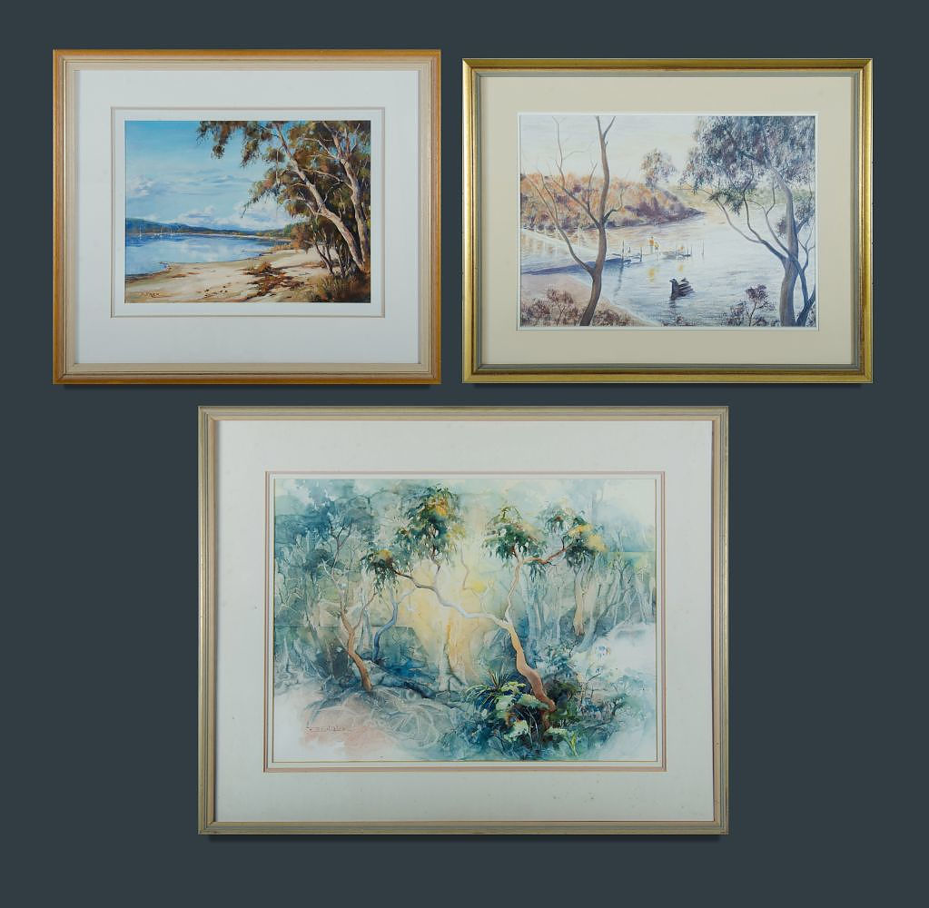 'Australian School (3) Janet COBB, Twisted Gums, w/clr (53x72cm); Beatrice DREW, Still Waters, Swan Lake, Sussex Inlet, oil (34x47cm); & N HOWARD, Afternoon, Oatley Bay, w/clr (38x54cm) '